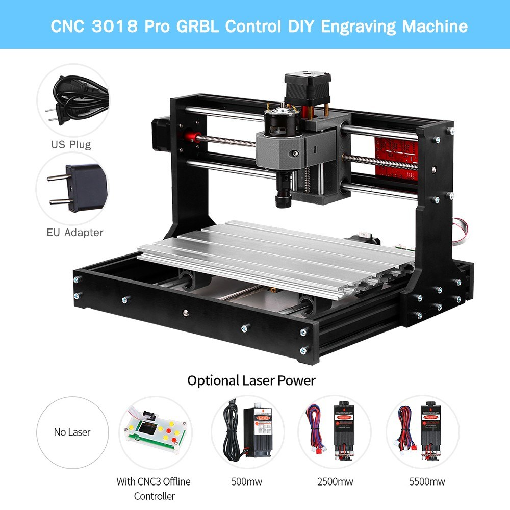 Upgrade Version CNC 3018 Pro GRBL Control DIY Mini CNC Machine 3 Axis Pcb  Milling Machine Wood Router Engraver with Offline Controller with ER11 and