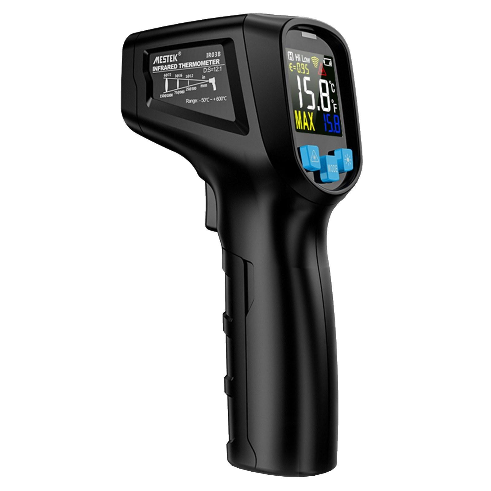 MESTEK -50~600u2103 Handheld Non-contact Digital LCD Infrared Thermometer Industrial IR Temperature Tester Pyrometer Adjustable Emissivity