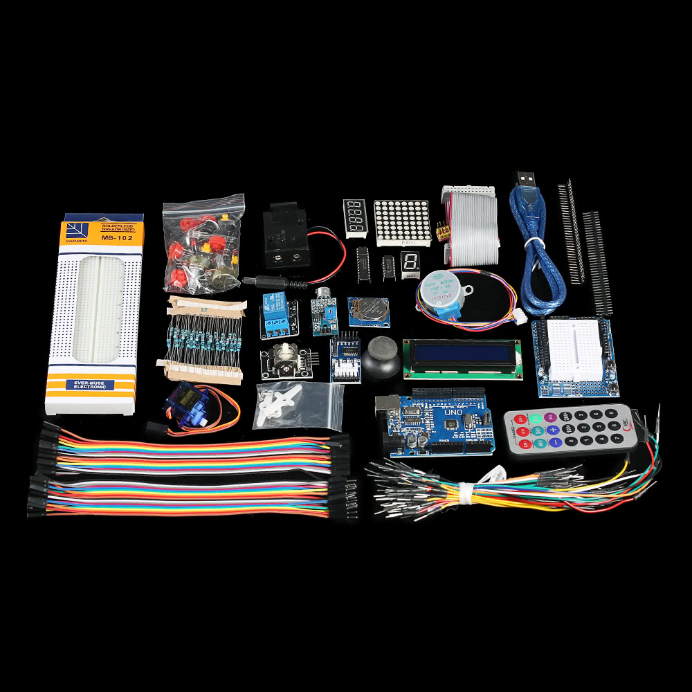 Ultimate Uno R3 Starter Kit For Arduino Servo Motor Relay Rtc Led Module Wiring 1 Module5v 10a 65 Jump Wires 10 Female Dupont Male 9v Battery Holder9v Is