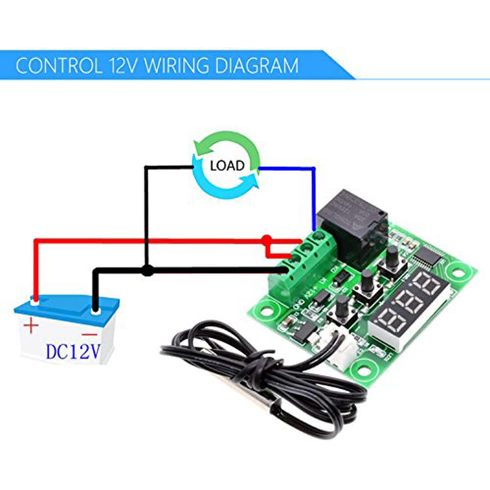 W1209 Blue Led Digital Temperature Controller Board Micro Thermostat Control Wiring Diagrams Electronic Temp 12v Dc Sensor Module Switch With One Channel Relay And