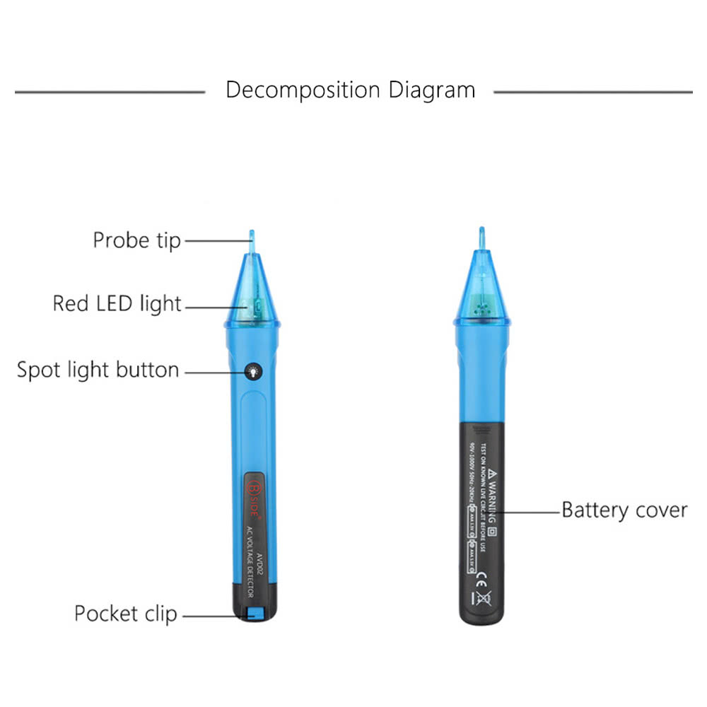 Portable Non Contact Ac Voltage Test Pencil Detector Led Light Noncontact 600v Electrical Circuit Wire Tester Electric Volt 90 1000v Detection Sales Online E1333 Tomtop