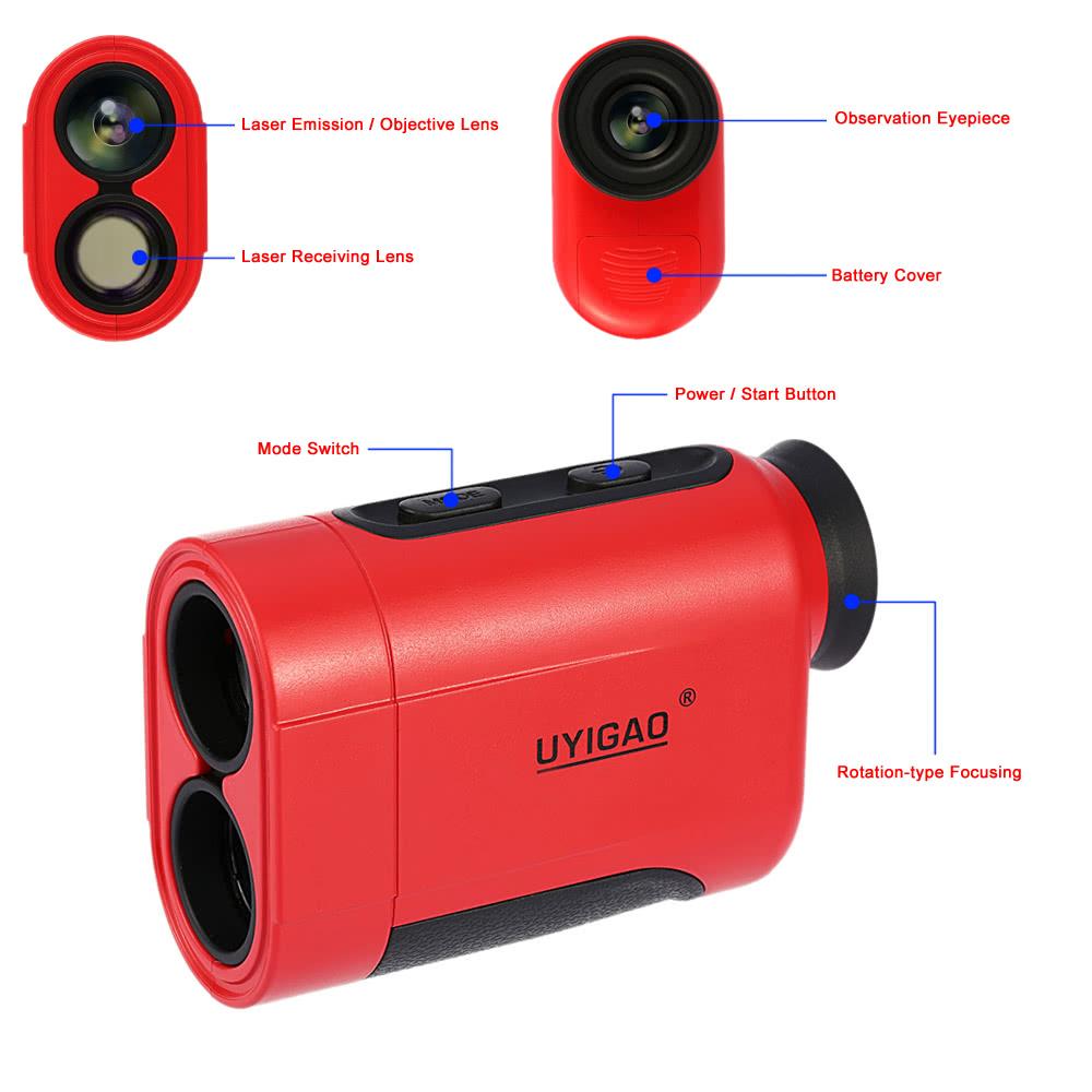 Uyigao 1200m 6x Handheld Monocular Laser Range Finder Telescope Outdoor Distance Measurement