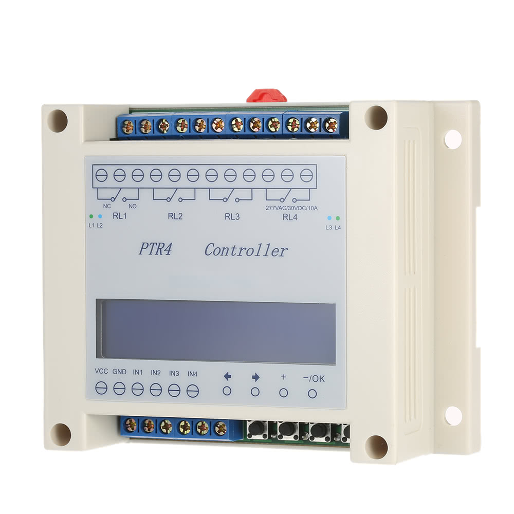 DC6 40V 4 Channel Programmable Digital Time Relay Timer Controller Delay Switch Module Independent Timing Cycle LCD Display Sales Online White
