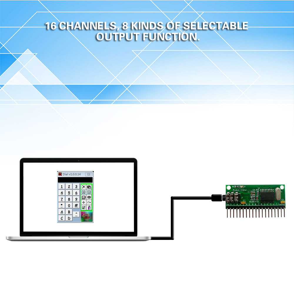 Best 16ch Dtmf Mt8870 Audio Decoding Module Phone Voice Decoder Touch Tone Based On A 1 50cm Male To Cable35mm Jack