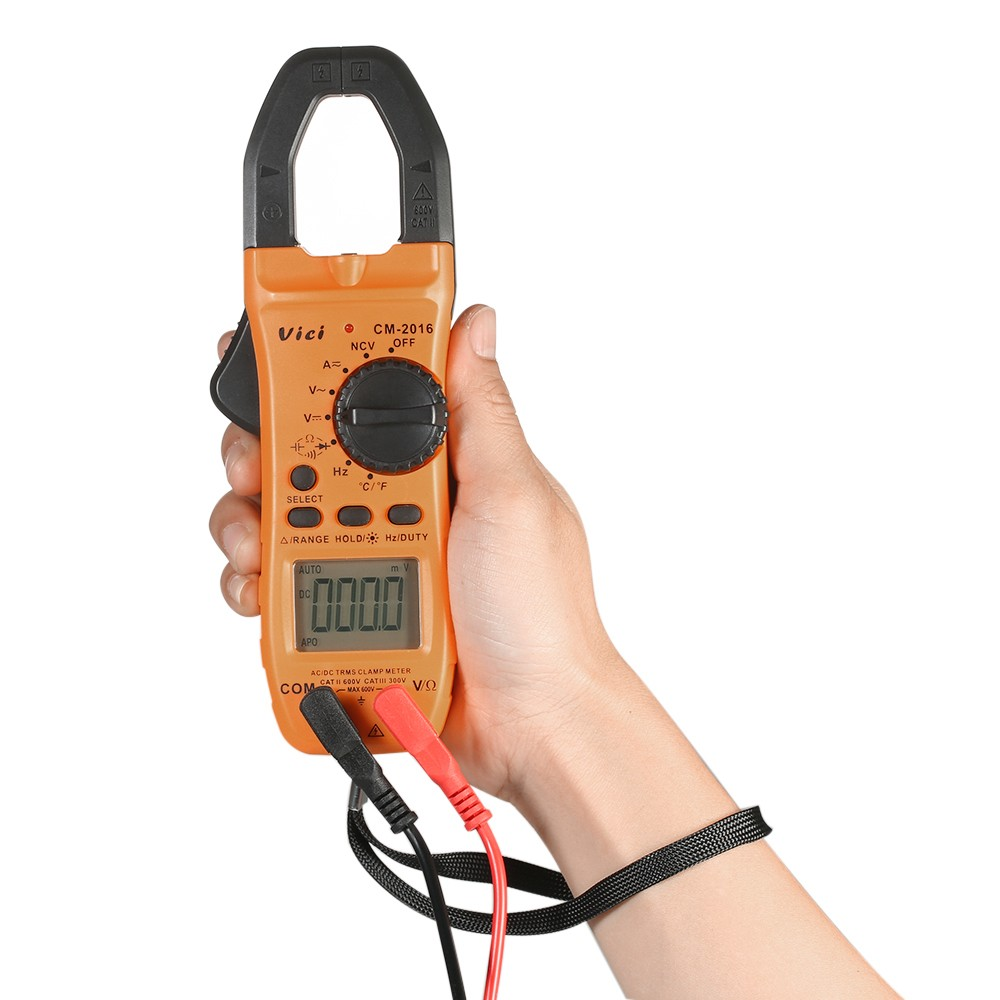 Vici Hand Held Lcd Digital Clamp Meter Multimeter Ac Dc Voltage Diode Measurements Electronic Current Capacitance Continuity Test Temperature Resistance Measurement Tester