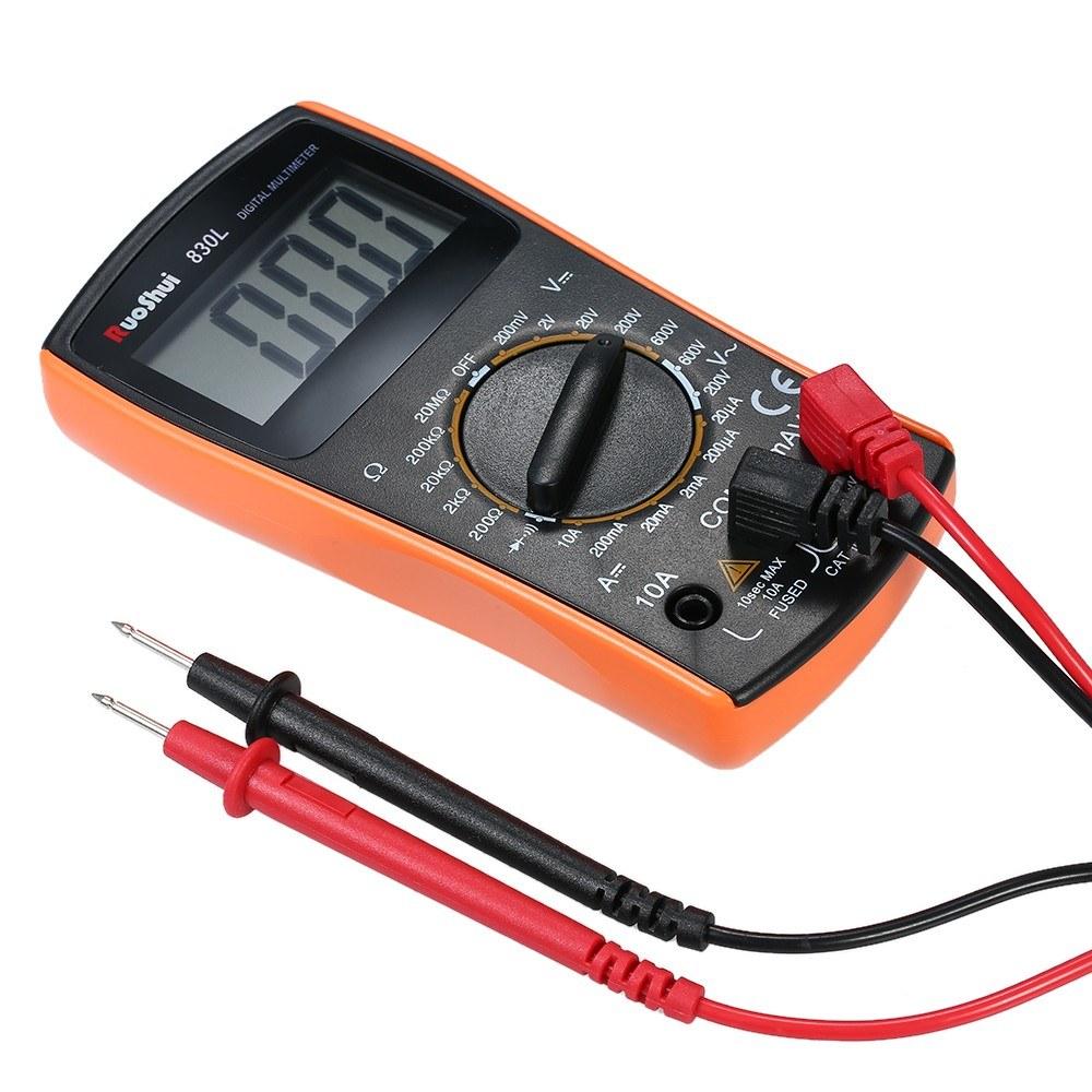 Ruoshui 1999 Counts Mini Digital Multimeter Multi Functional Ammeter Voltmeter Ac Dc Ohm Tester Buzzer Circuit Meter Handheld Measuring Voltage Current Resistance Diode