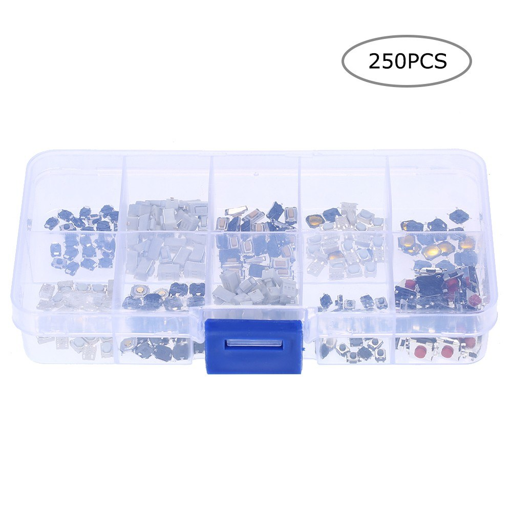 250pcs 10 Value Tactile Push Button Switch Micro Momentary Tact Assortment  Kit with Clear Plastic Box Car Remote Control Button Switch Assortment Kit