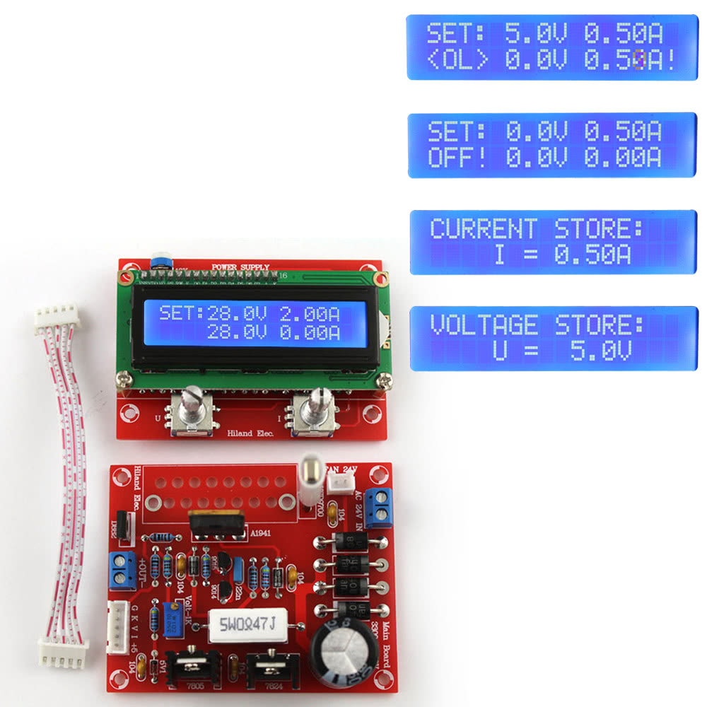 0 28v 001 2a Adjustable Dc Regulated Power Supply Diy Kit Lcd Schematic Display Short Circuit Current Limiting Protection
