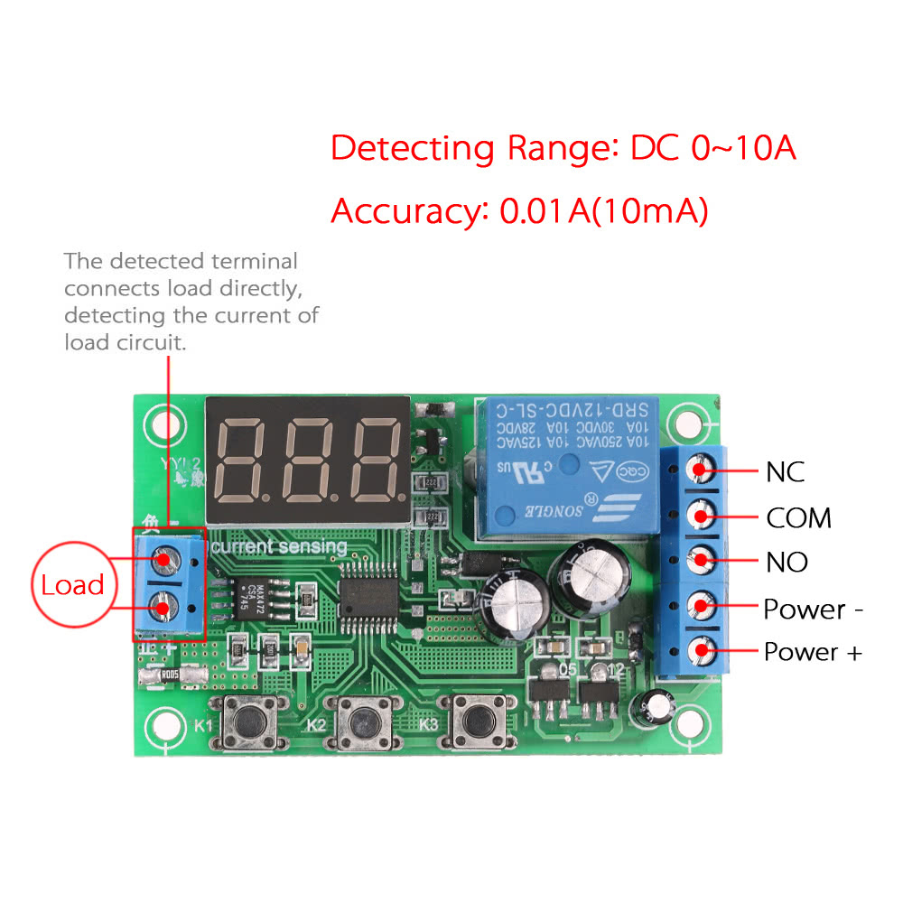 12v 0 10a Dc Current Detection Module Sensing Detecting Relay Circuit Delay Control