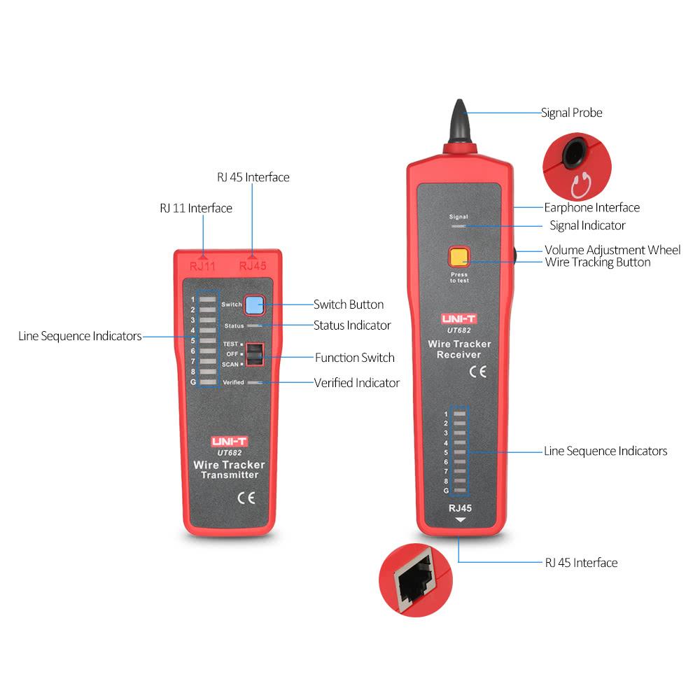 Uni T Ut682 Multi Functional Handheld Wire Tester Tracker Rj11 Rj45 Tracking Transmitter Line Finder Cable Testing Tool For Network Maintenance