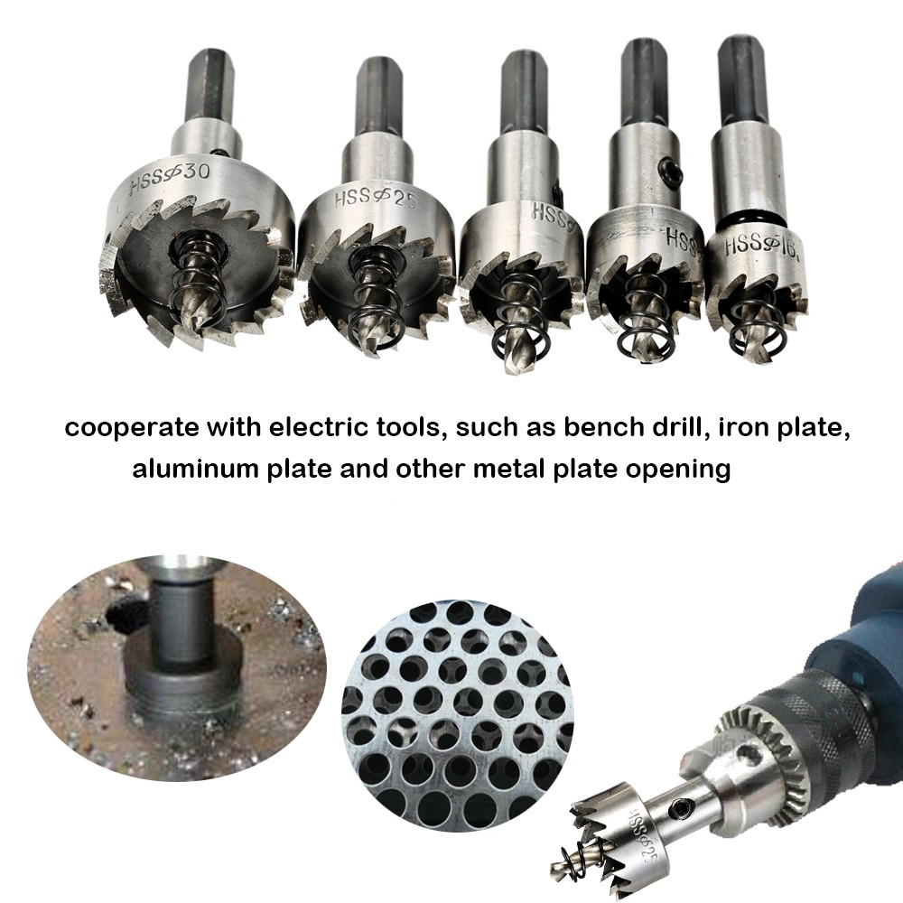 5PCS High Speed Steel Hole Saw Cutter Tool Saw Tooth HSS Drill Bits Set