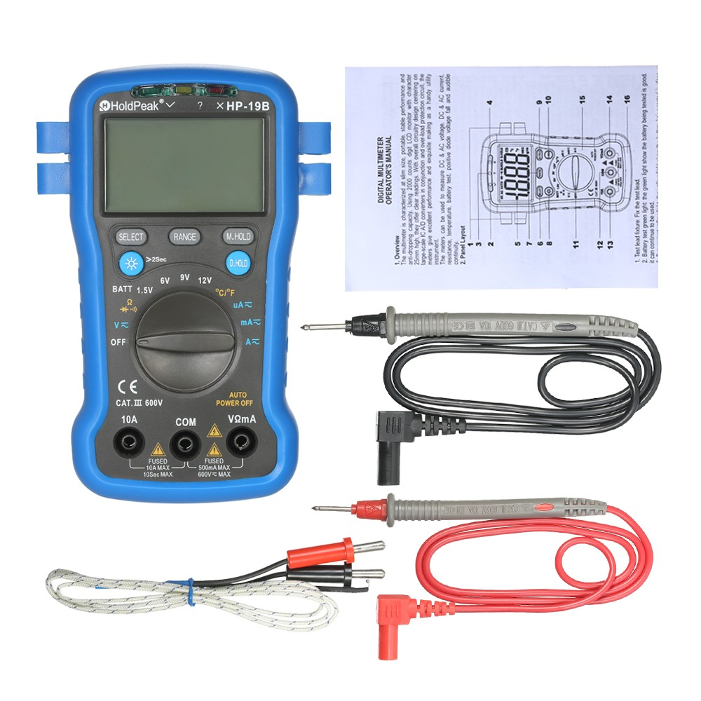Holdpeak Backlight Lcd Display Multi Functional Digital Multimeter Dc 6v 12v Circuit Tester Car Light Voltage Continuity Long Probe Test Ac Current Meter Resistance Temperature Battery Diode
