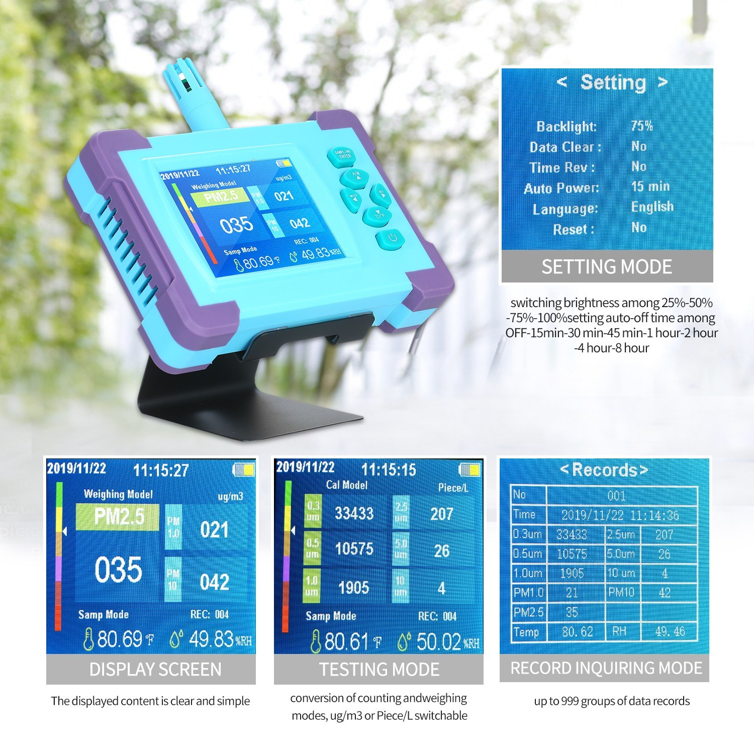 PM1.0/PM2.5/PM10 Air Quality Monitor Digital Gas Analyzer Rechargeable Battery Portable High-precision Sensor Air Detector Home LED Display Temp And Humidity Test Equipment