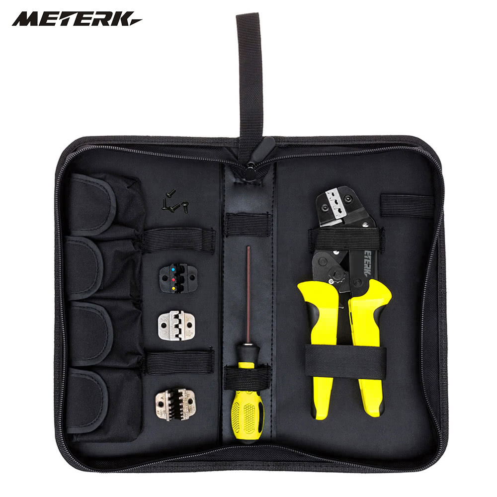 Meterk Professional 4 In 1 Wire Crimpers Engineering Ratcheting Jack Connector With Crimp Type Terminal To Color Cord Cable And Wiring Crimping Pliers Bootlace Ferrule Crimper Tool End Terminals Sales Online Black