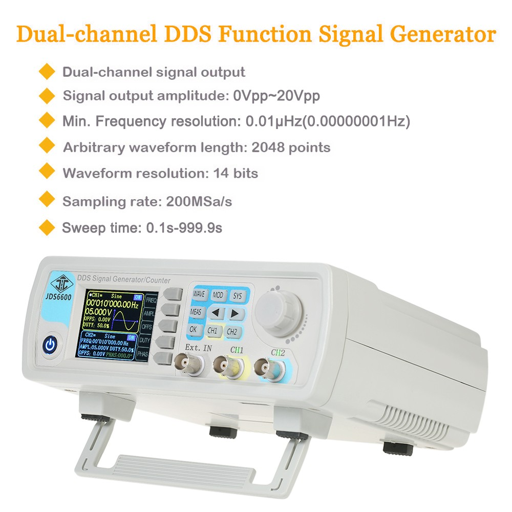 High Precision Digital Dual-channel DDS Function Signal Generator Arbitrary  Waveform Pulse Signal Generator 1Hz-100MHz Frequency Meter 200MSa/s 15MHz