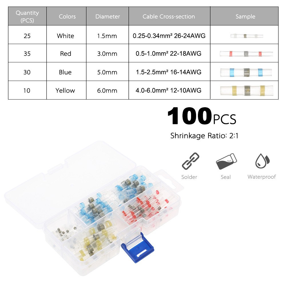 100pcs solder seal wire connectors heat shrink butt connector 100pcs solder seal wire connectors heat shrink butt connector terminals electrical waterproof insulated marine automotive copper including 10 white 23 red keyboard keysfo Gallery