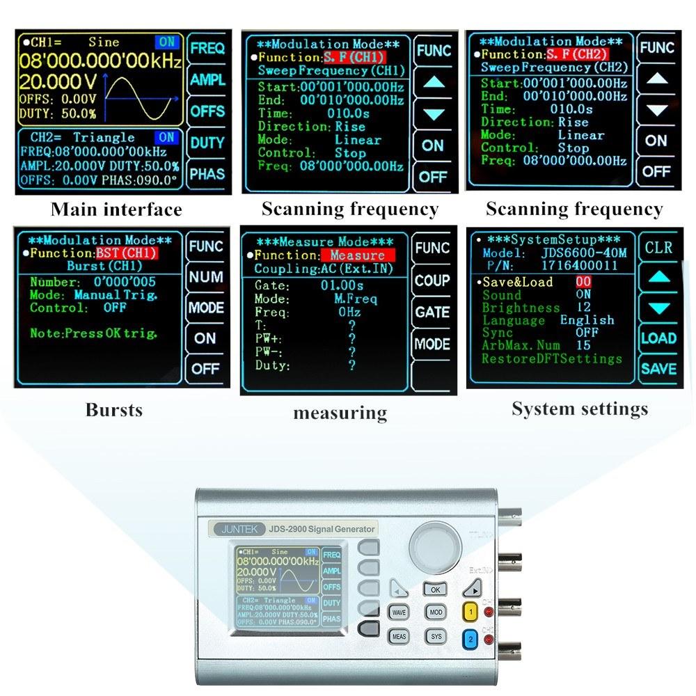 JUNTEK High Precision Digital Dual-channel DDS Signal Generator Counter  2 4in Screen Display Arbitrary Waveform Pulse Signal Generator  0 01uHz-15MHz