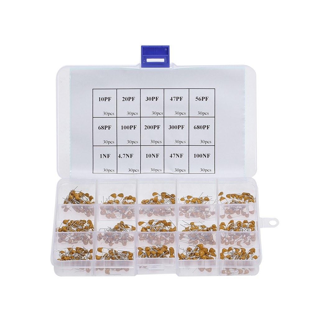 450pcs Ceramic Capacitors Multi-layer Ceramic Capacitor Assortment Kit With Box 10pF-100nF 15 Value
