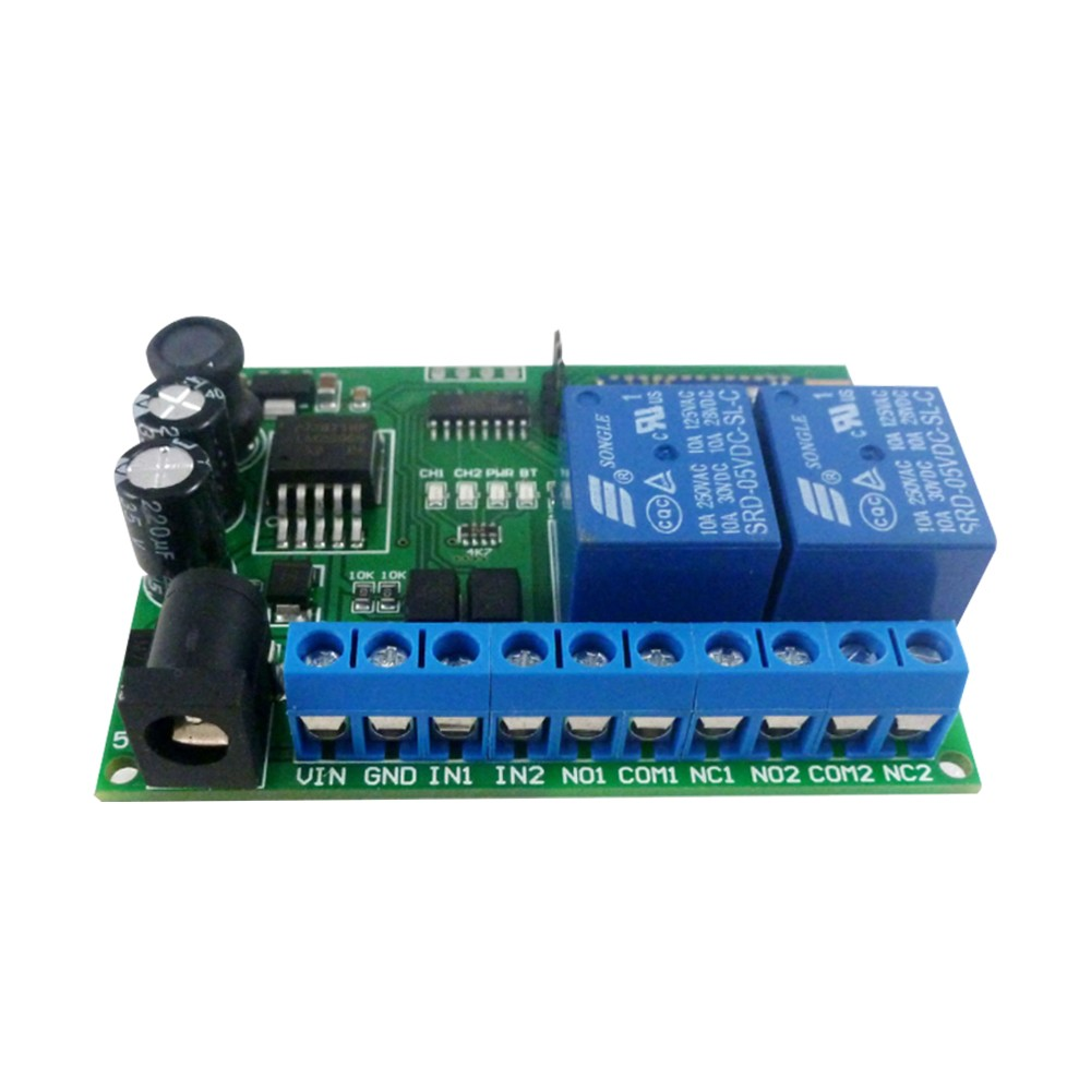 DC5-24V/10A 2 Channel BT 4.0 BLE Relay Module Remote Control Switch Compatible i-Phone Androids