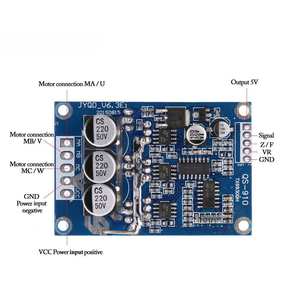 Dc 12v 36v 500w brushless motor controller without hall for Brushless dc motor control using digital pwm techniques