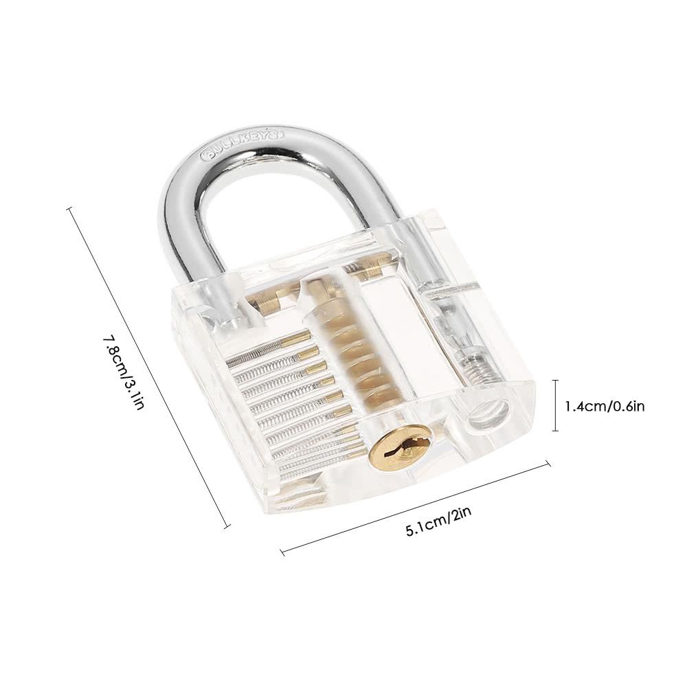15pcs Stainless Steel Practice Unlocking Lock Picking Tools Set Transparent 10pcs Lockpick Training Tool Lockset Kit With Crystal Padlock For Locksmith Beginners