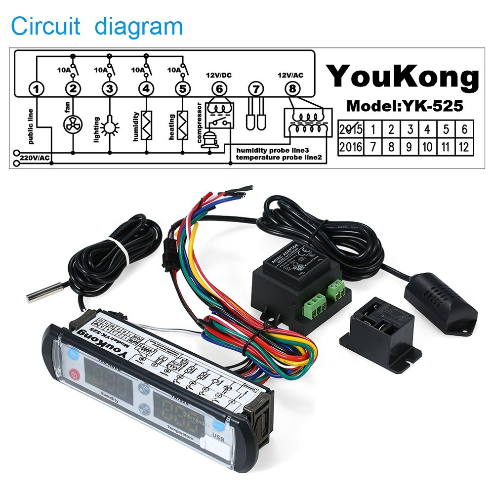 Youkong Digital Temperature And Humidity Recording Controller Sales Circuit Diagram Transmitter Electrical Schematic 1 Sensor Compressor Relay 220v Transformer English User Manual