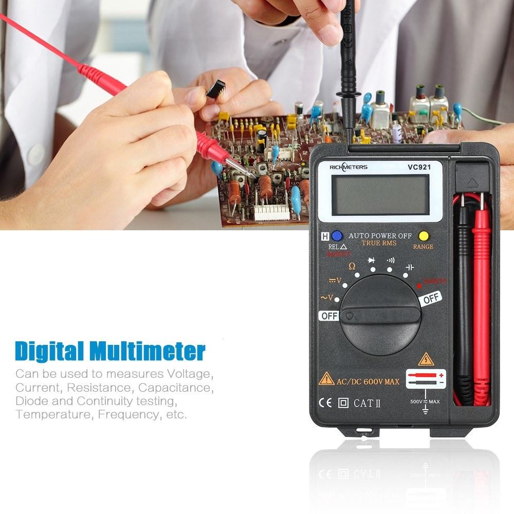 RICHMETERS Handheld Mini Digital Multimeter Multifunction 4000 Counts Multi  Meter AC/DC Transistor Voltage Tester Ammeter Temperature Sensor Test
