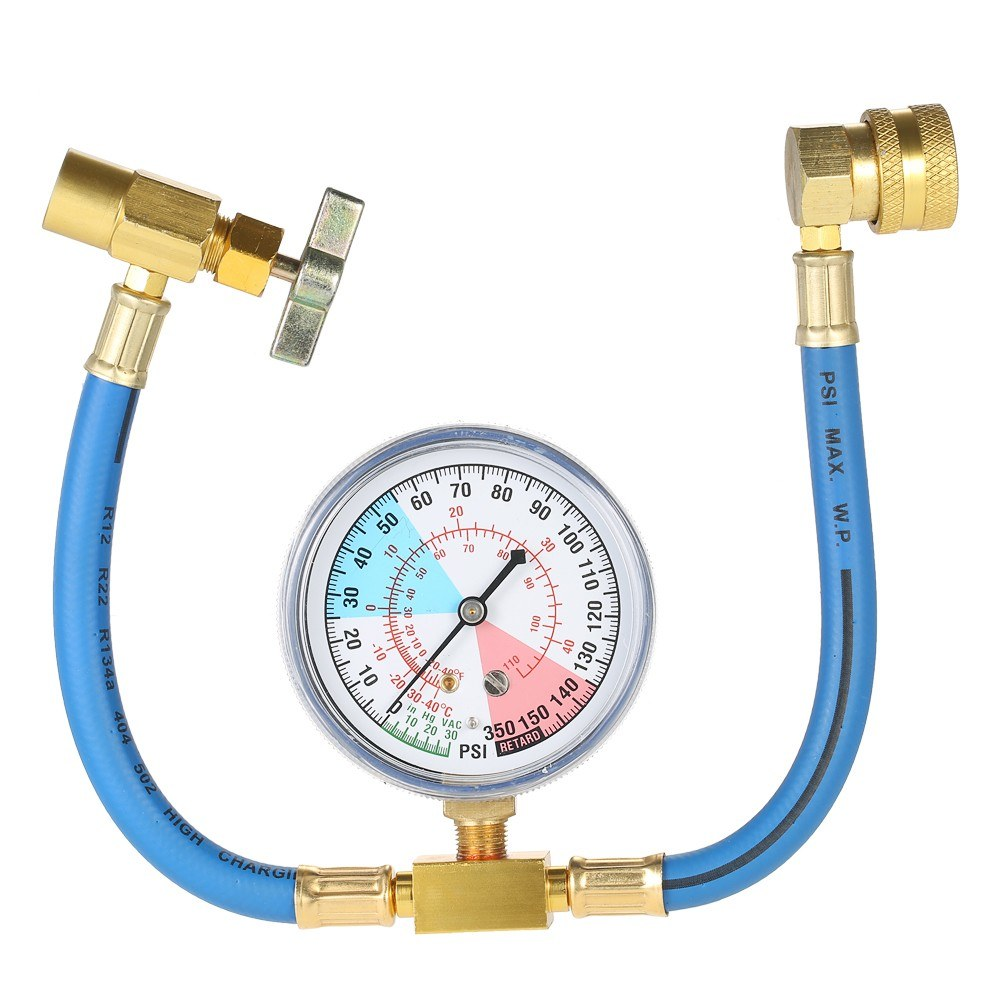 R134A AC Car Air Conditioning Refrigerant Recharge Hose Measuring Kit
