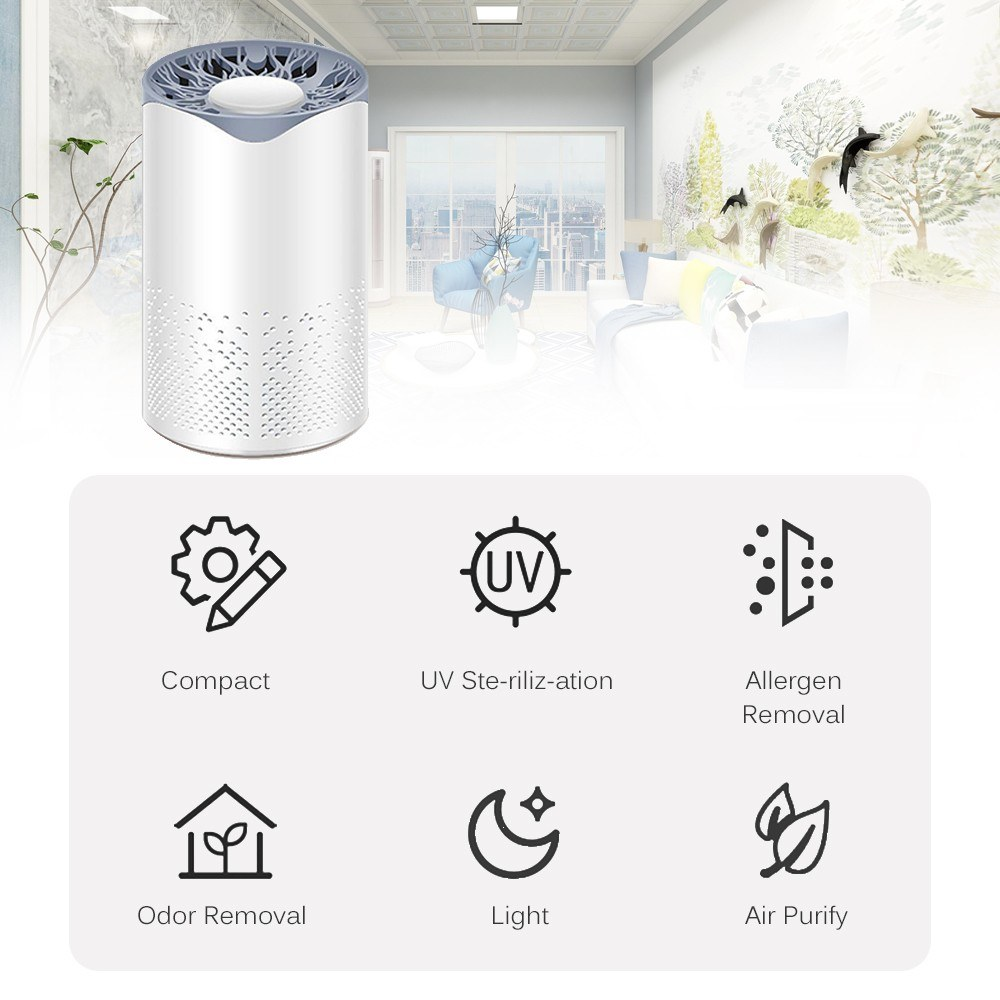UV Ultraviolet Air Purifier Health UV Cleaner Device 5-layer Filtration Desktop USB Air Cleaner for Home Office Car Wardrobe