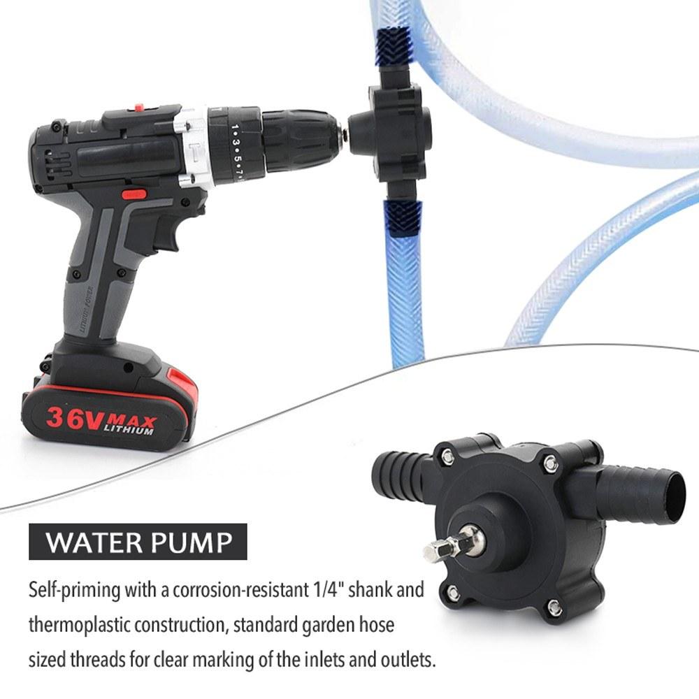 Lanbowo Electric Drill Drive Pump Oil Water Mini Self Priming Transfer Pump Portable Corrosion Resistant