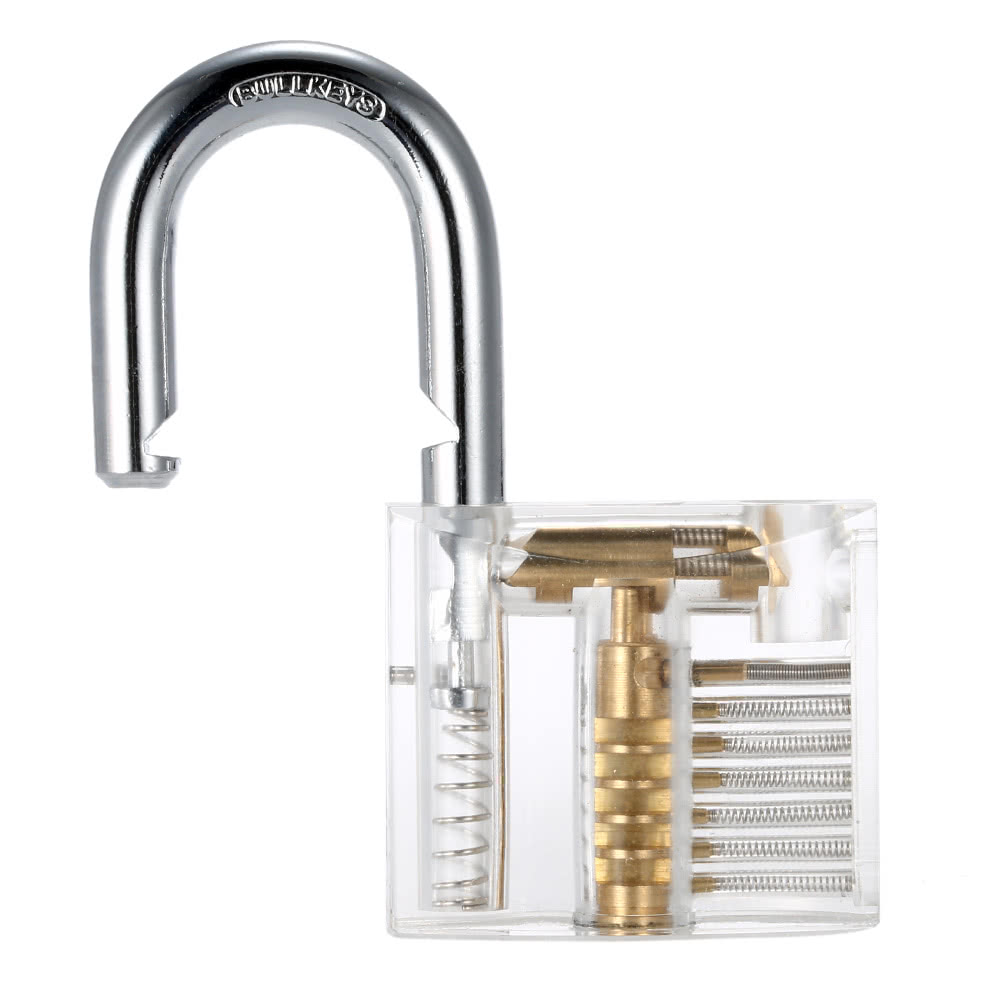Large Transparent Practice Padlock Locksmith Pick Lock Training Tool 10pcs Lockpick Set With Keys