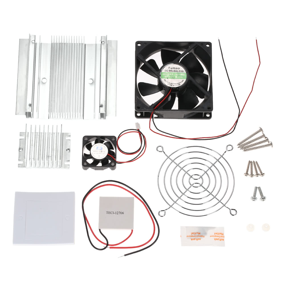 Diy Thermoelectric Peltier Refrigeration Cooling System Kit Electric Fan Semiconductor Cooler Conduction Module Radiator Tec1 12706