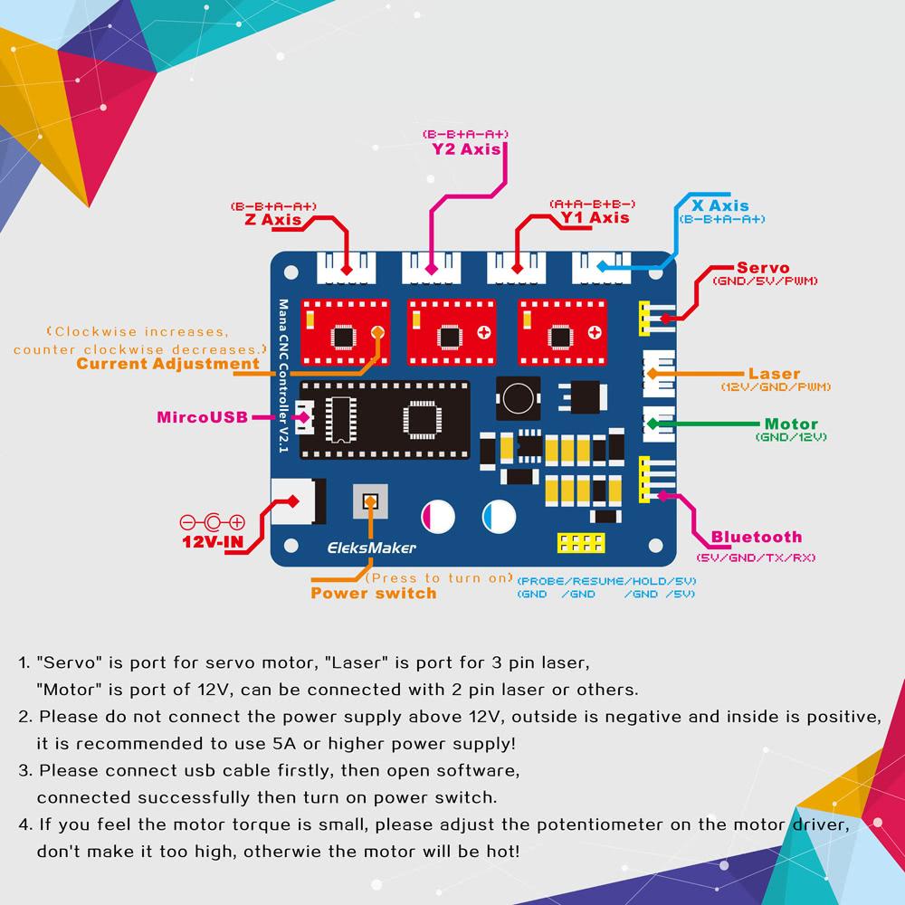 EleksMaker EleksMana XYZ 3 Axis Stepper Motor Driver Controller Board  Control Panel For DIY Laser Engraver