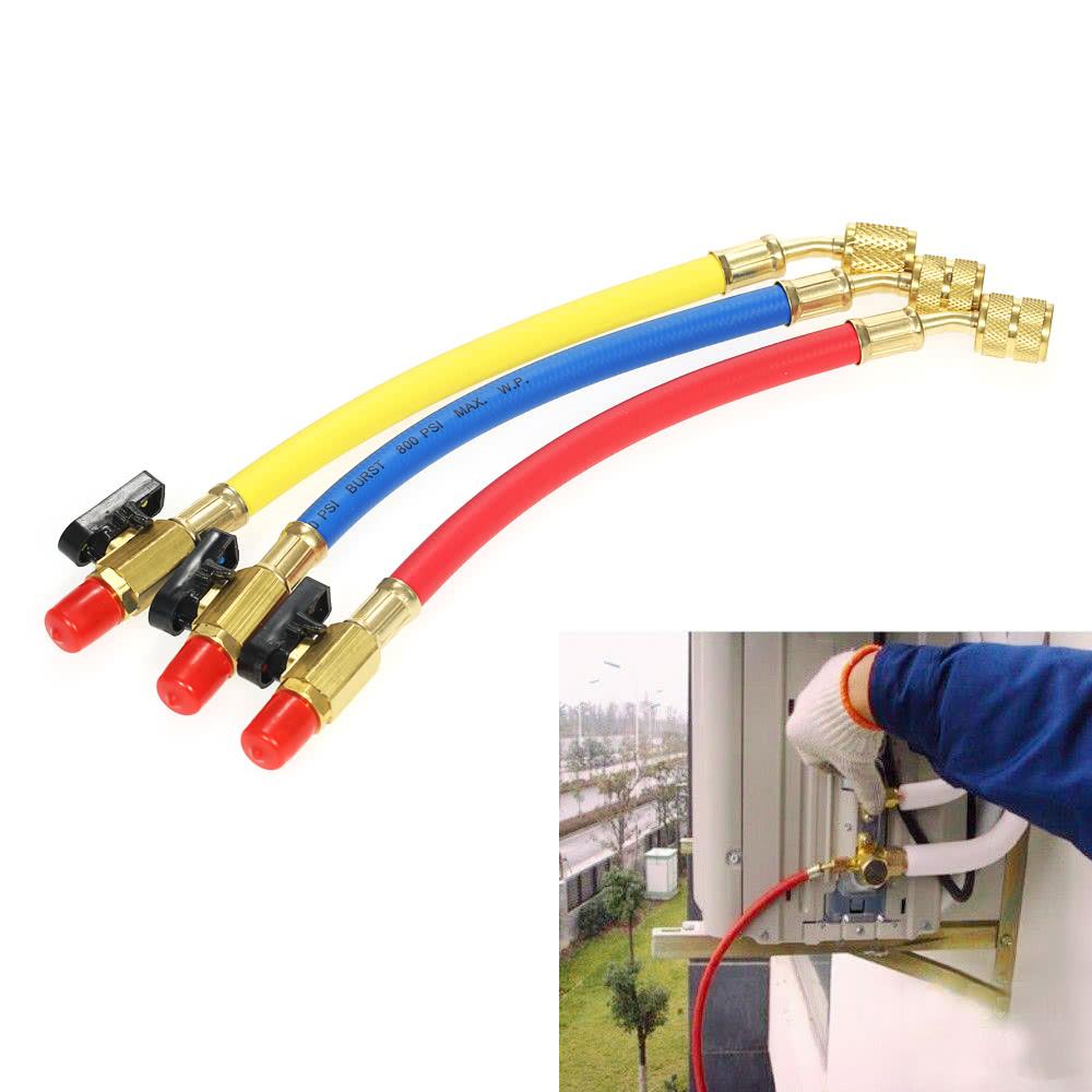 3pcs R134A R410A R22 R12 800 PSI Manifold Gauge Set A/C Refrigeration  Charging Hose High Pressure HVAC Refrigerant Charging Hoses Set with Ball  Valve