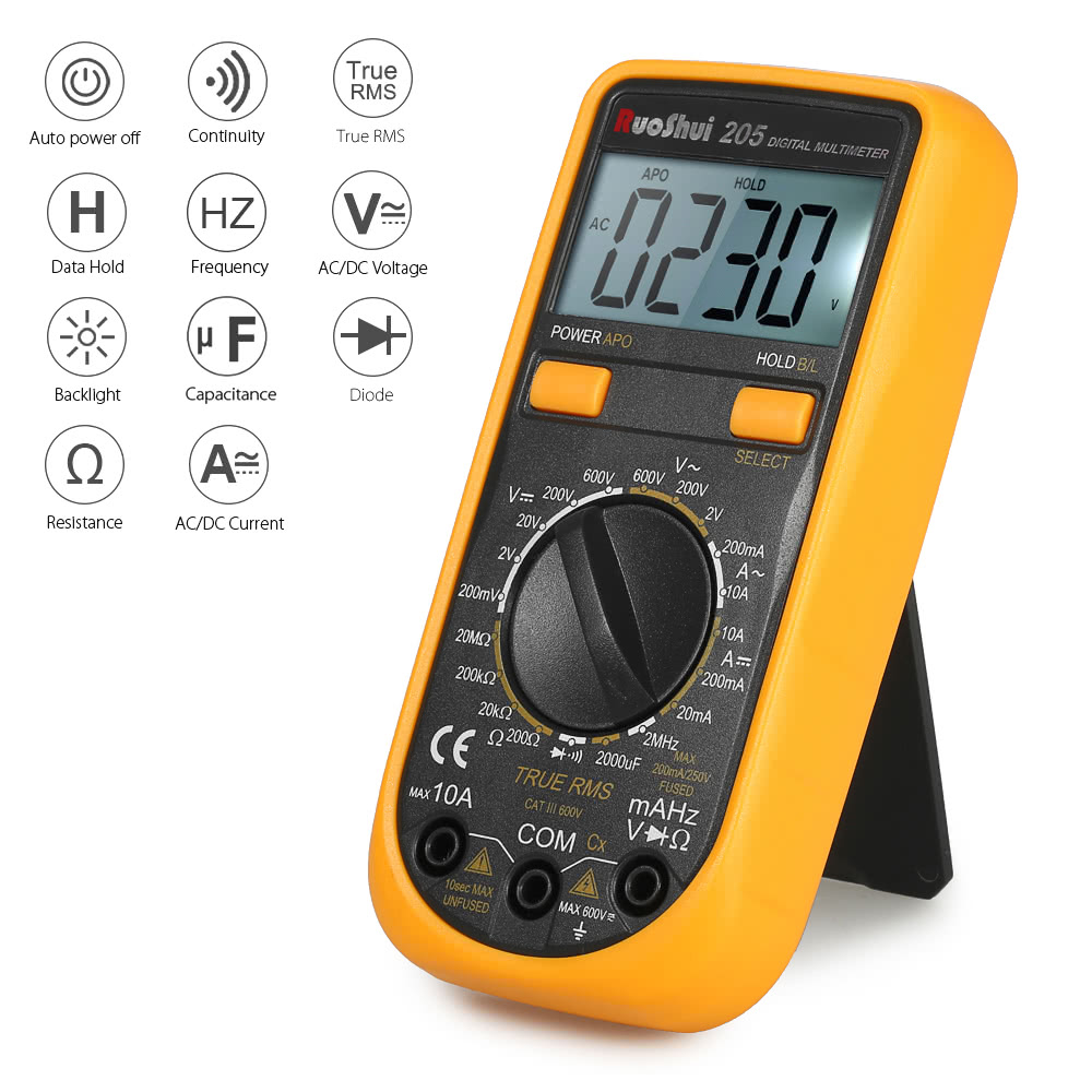Best Ruoshui Pocket 1999 Counts Auto Range True Rms Multi Functional Waterproof Digital Lcd Ac Dc Voltage Continuity Circuit Tester Ts 1 Multimeter Pair Of Test Probe Use Manual English