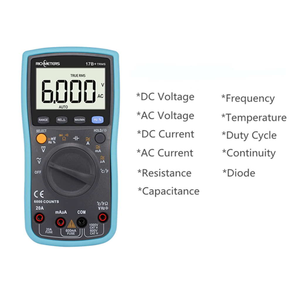 Richmetes 17b 6000 Counts Digital Dc Multimeter Ac Voltage Current Temperature Probe For Multi Meter Resistance Diode Capaticance Tester Multimetro With Temp Sales Online