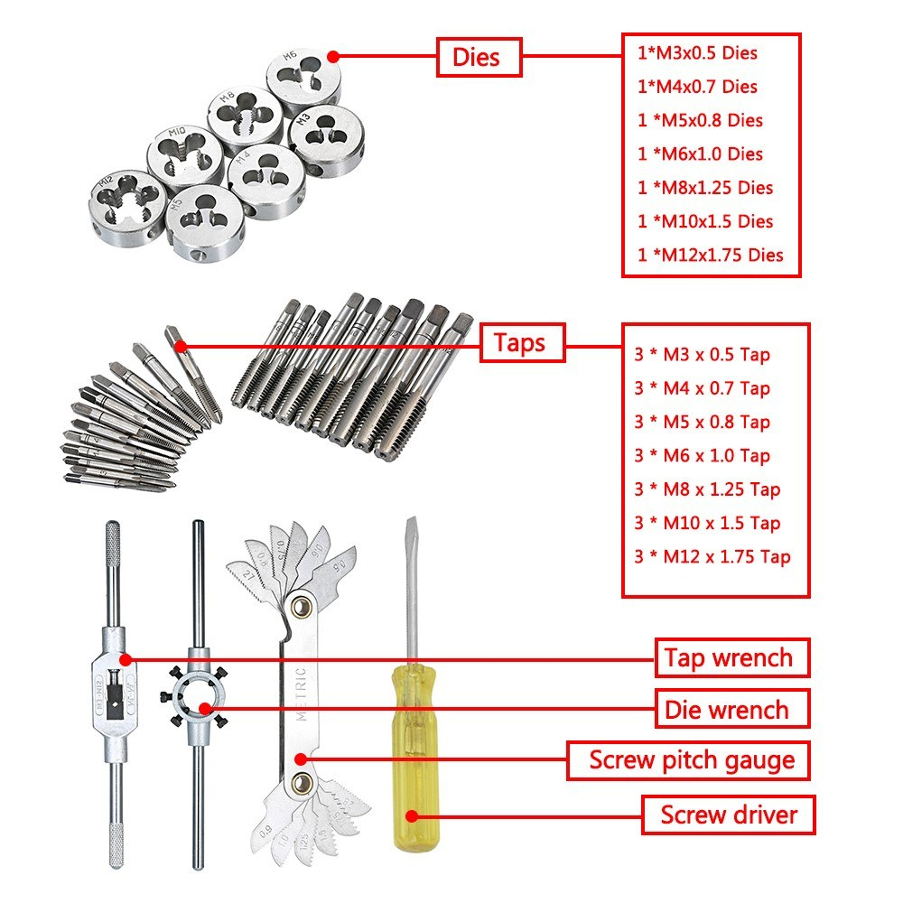 32 PCS HSS Tap and Die Set Metric Wrench Cut M3-M12 Hand Threading Tool  Tungsten Carbide Tap Die Screw Thread Making Tool Bit Set Engineer Kit with