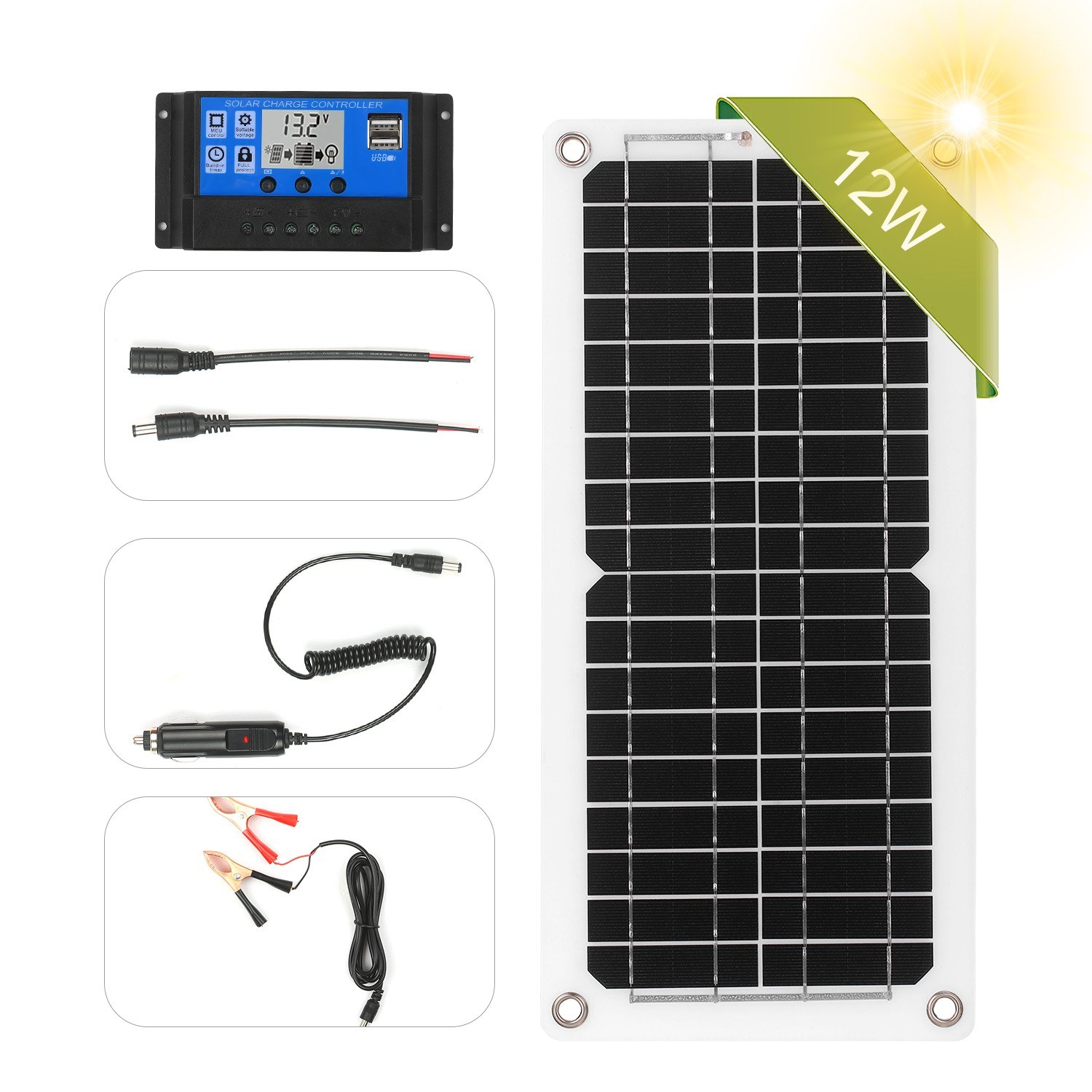 12w 12v Solar Panel Kit With Charge Controller Usb Port Off Grid Monocrystalline Module