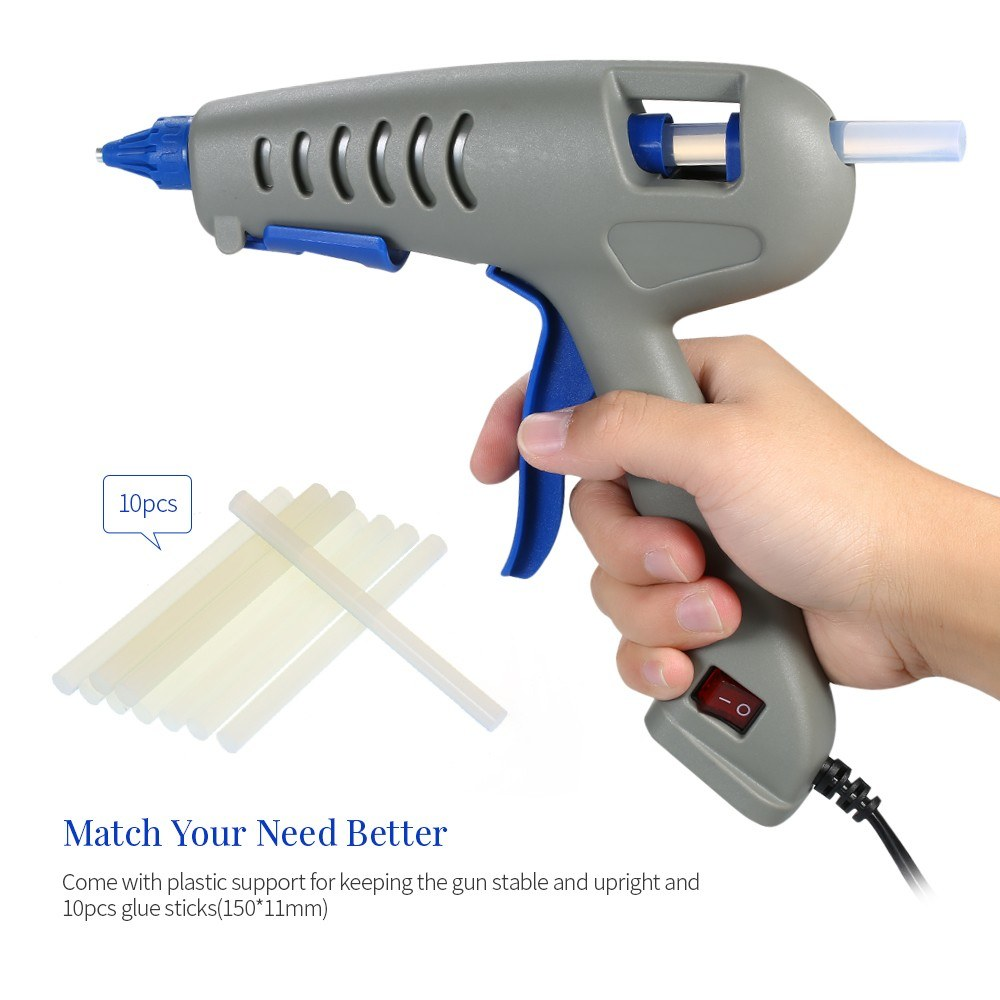 Hot Melt Glue Gun Home-use Mini Professional Industrial Hot Melted Glue  100W DIY Heating Craft Repair Tool with ON/OFF Switch and 10pcs Glue Sticks
