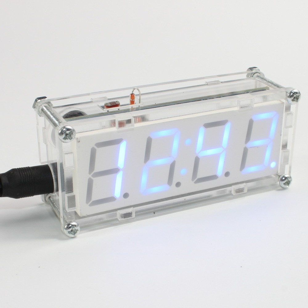 4 Digit Diy Led Electronic Clock Microcontroller 08inch Digital Using Pic Tube Sales Online Blue Tomtop