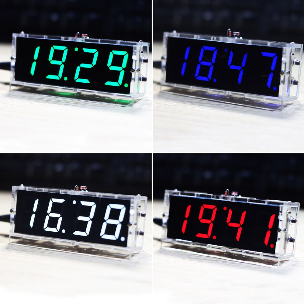 compact 4 digit diy digital led clock kit light control temperature date time display with. Black Bedroom Furniture Sets. Home Design Ideas