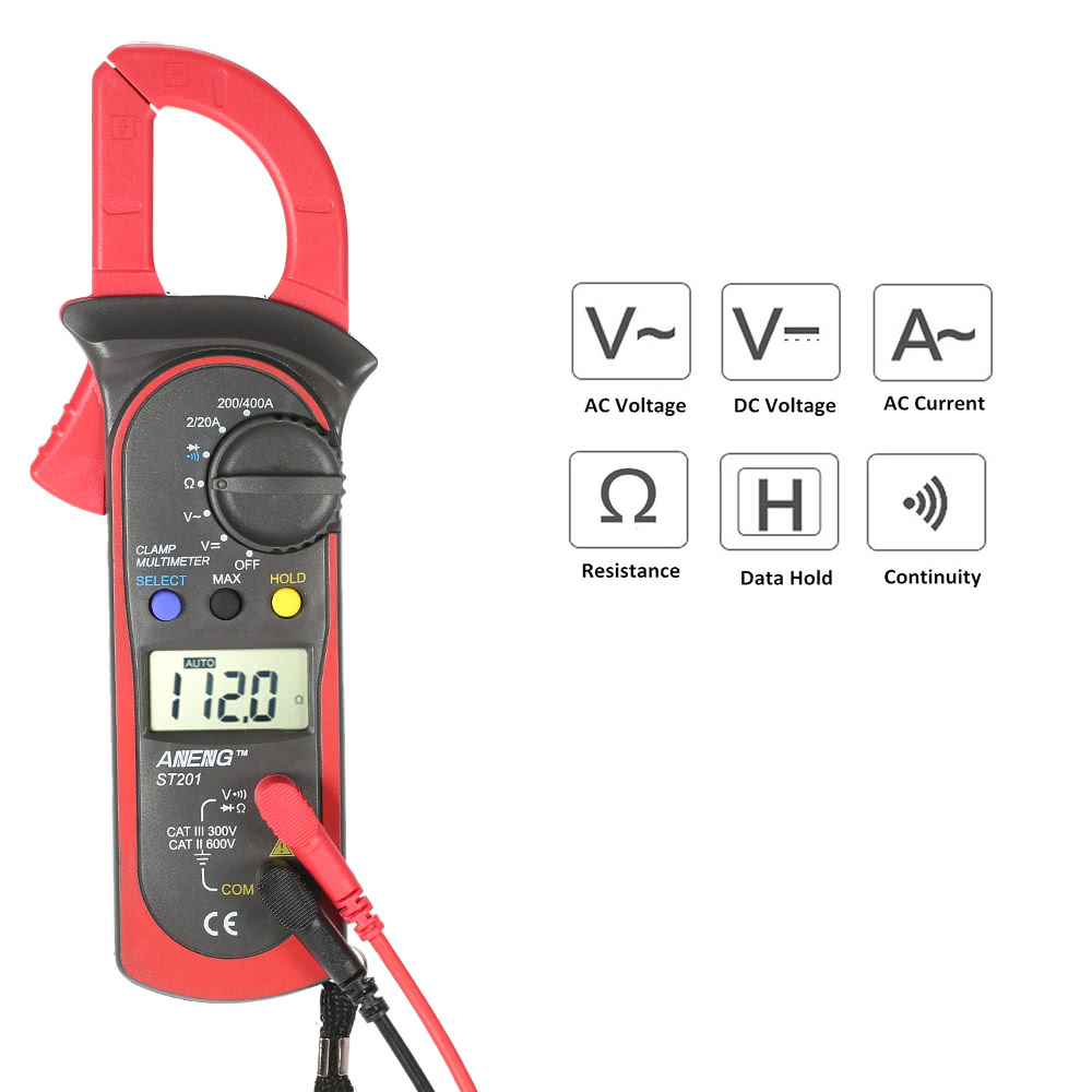 Handheld Digital Lcd Display Clamp Meter Multimeter Ac Dc Voltage And Circuits Current Resistance Diode Continuity Measuring Data Hold Sales Online Red Tomtop