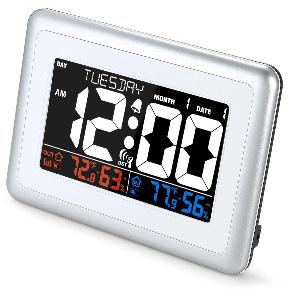 WWVB Alarm Clock Temperature and Humidity Meter Weather Forecast Station  Indoor and Outdoor Thermometer Temperature and Humidity Monitor with  American