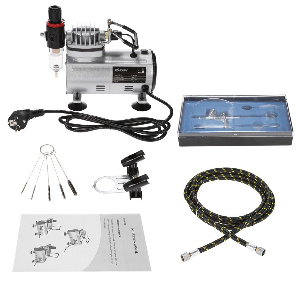 tomtop.com - [EU Warehouse] 63% OFF KKmoon Professional Airbrush Kit With Air Compressor, $85.99 (Inclusive of VAT)