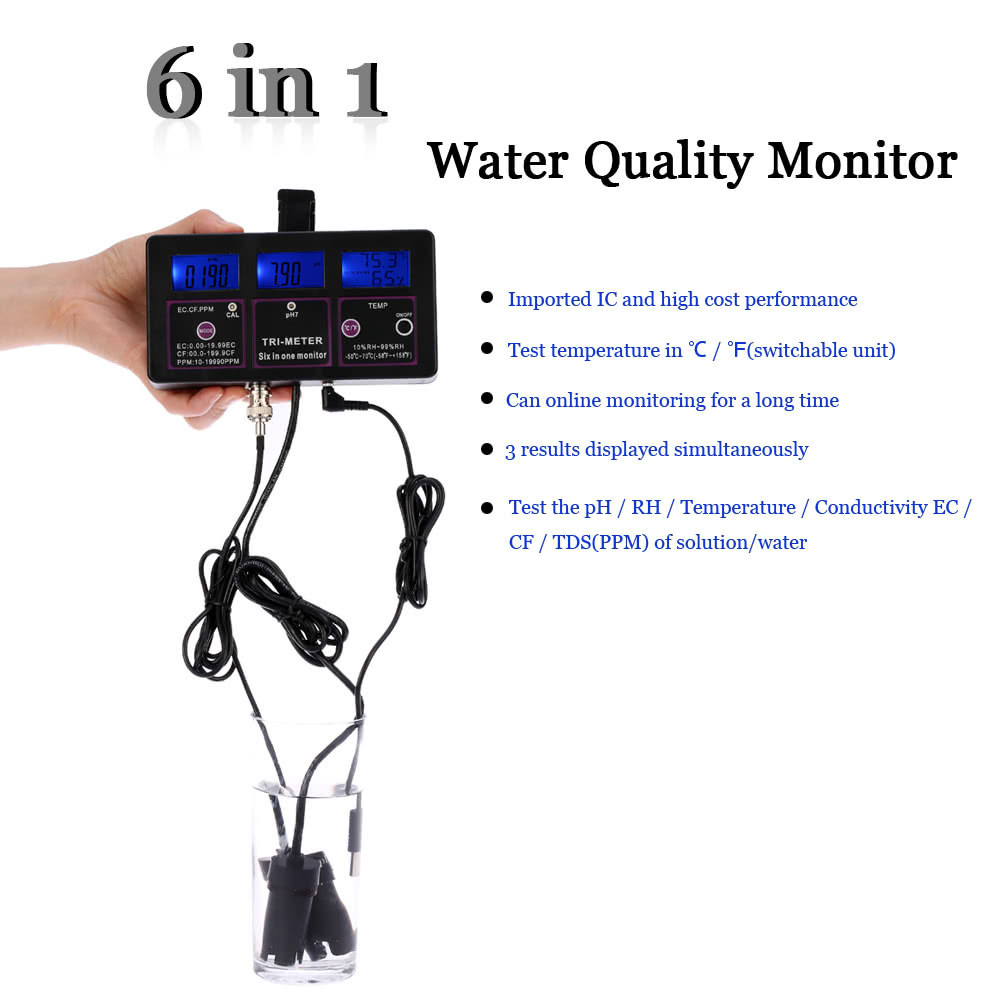New Professional 6 In 1 Multi Parameter Water Testing Meter Sales Tds Ec With Temperature Dual Display Backlight Ez 2b Quality Monitor Conductivity Electrode User Manual Ph Ac Dc Adapter 2 Suction Cups