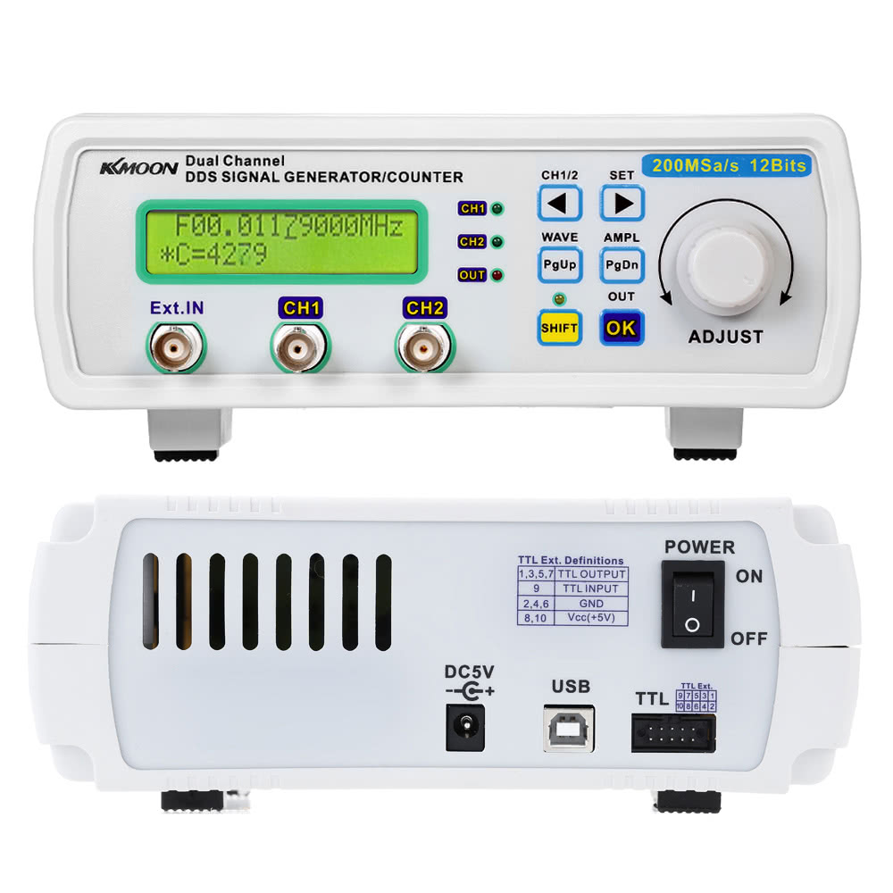 Kkmoon High Precision Digital Dds Dual Channel Signal Source 1hz To 1mhz Frequency Meter With Display Generator Arbitrary Waveform 200msa S 25mhz Sales Online Eu Tomtop