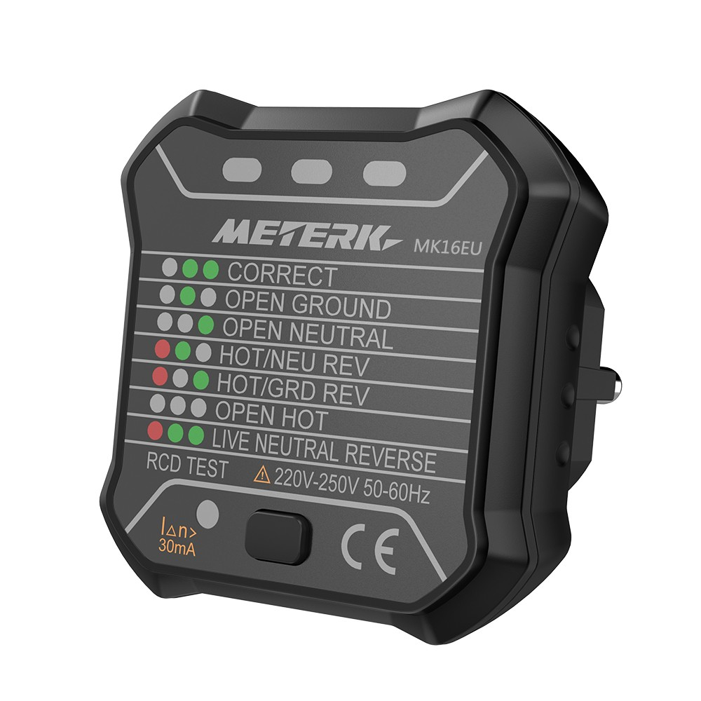 Meterk Advanced RCD Electric Socket Tester Automatic Neutral Live ...