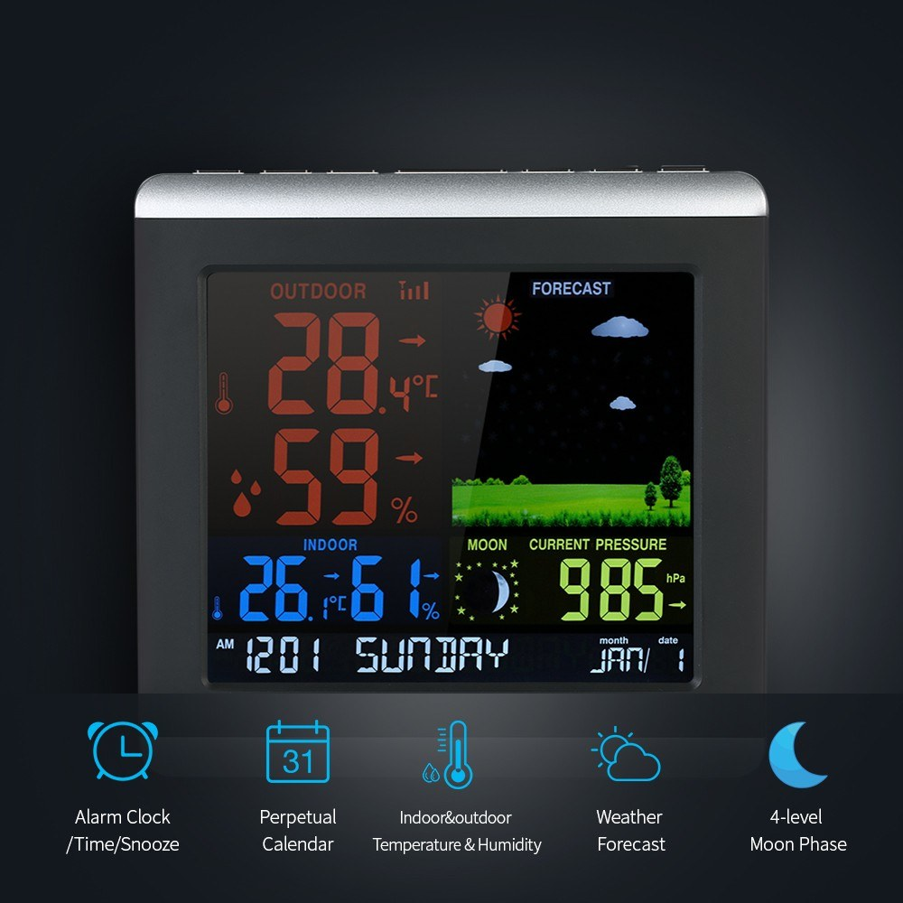 Wireless Weather Station Indoor Outdoor Thermometer Hygrometer Digital Multifunction Temperature Humidity Meter With Clock Alarm Date Week Calender Htc 2 Barometer Sales Online Eu Plug Tomtop