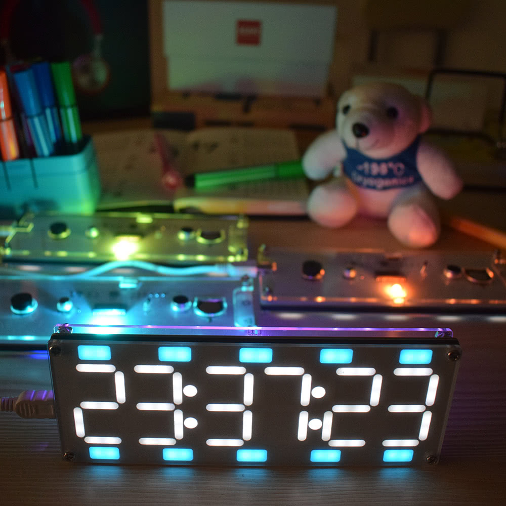 DIY Large 6 Digit LED Two-Color Digital Tube Clock Kit Touch Control with  Time Temperature Date Week Display