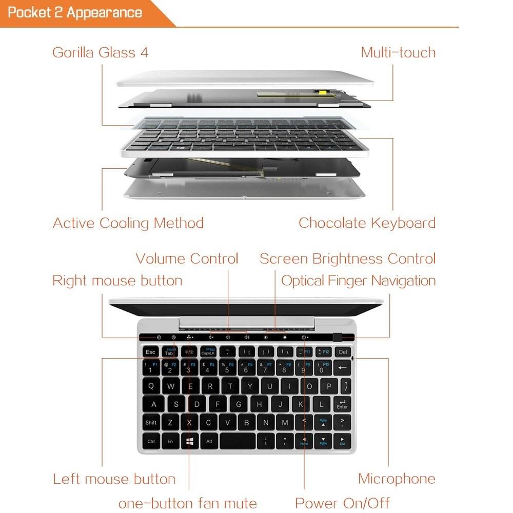 GPD Pocket 2 Mini Laptop Tablet PC Notebook Windows 10 8GB / 128GB